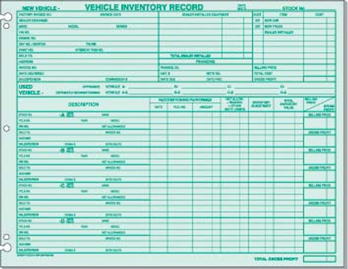 Vehicle Inventory Record (PAP-DSA-542)