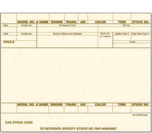 1 Part Stock Card - Blank