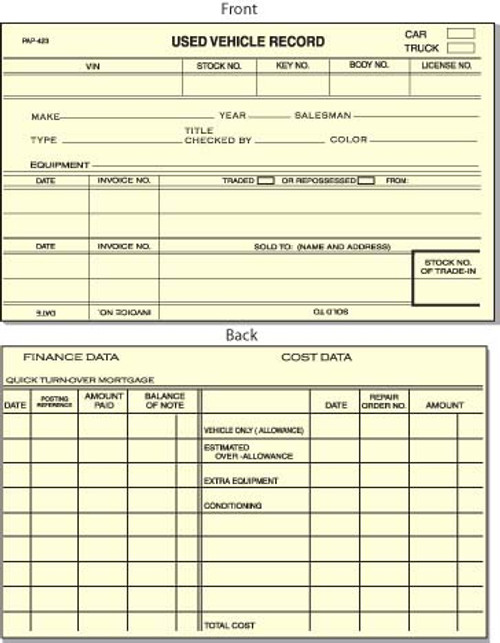 Used Car Inventory Record