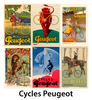Cycles Peugeot Bicycle Posters - Set of 6