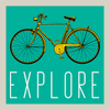 Explore Fun Square Bicycle Poster in three sizes