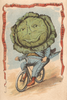 Cabbage Vegetable Rider Bicycle Poster