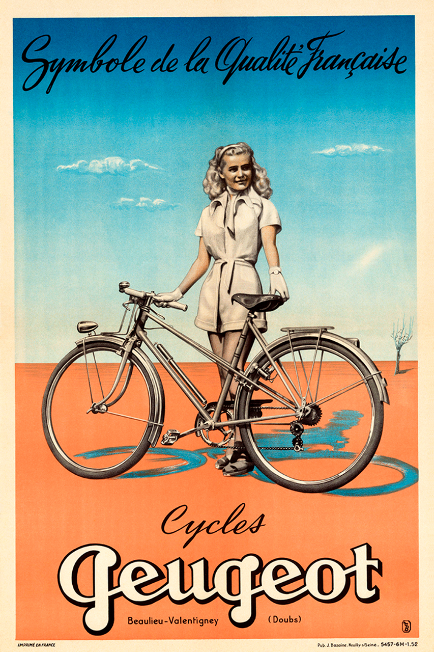 Peugeot Quality Vintage Bicycle Poster