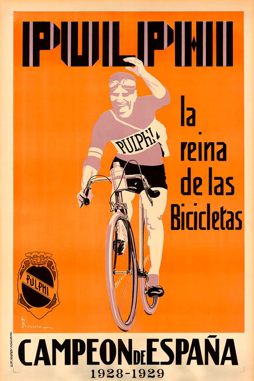 Pulphi Champion of Spain Vintage Spanish Bicycle Poster