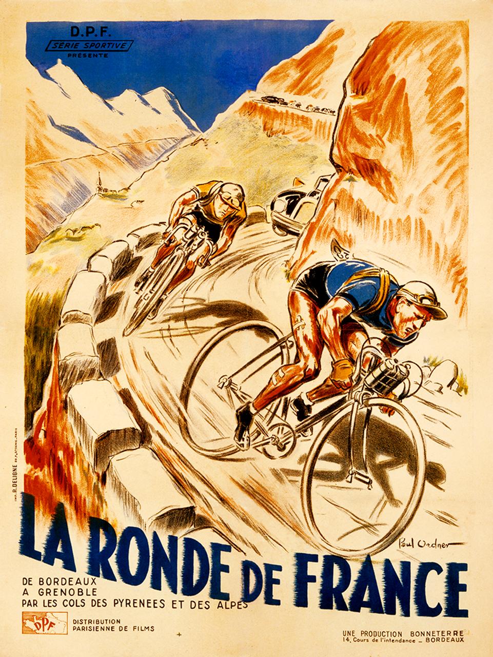 La Ronde de France Bicycle Poster by Paul Ordner