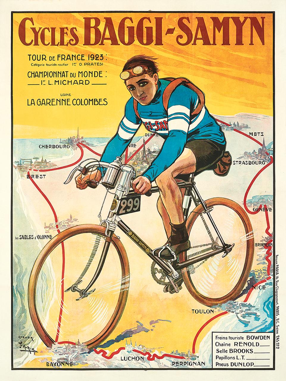 1923 Baggy-Samyn Tour De France Bicycle Poster