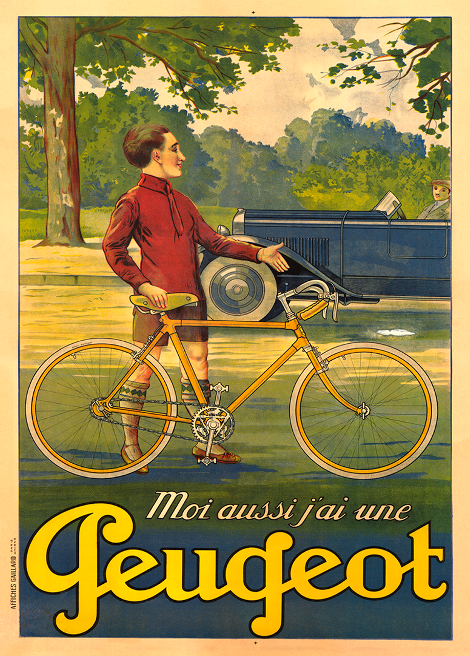 Peugeot Vintage Bicycle Poster with a young man and automobile