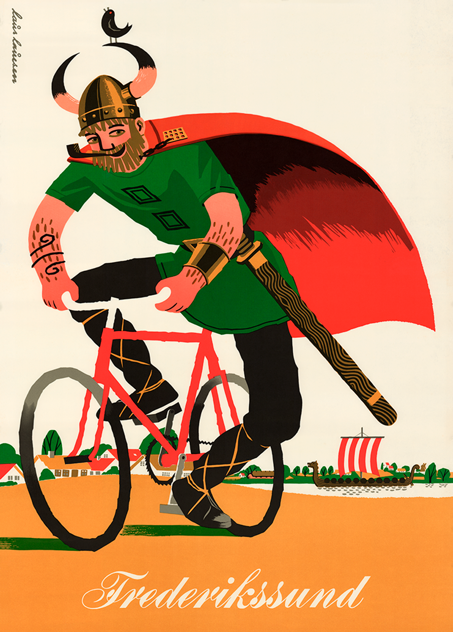 Danish Travel poster with a Viking on a Bicycle