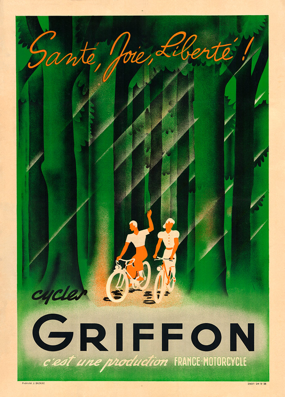 Griffon Bicycles Vintage Bicycle Poster Print