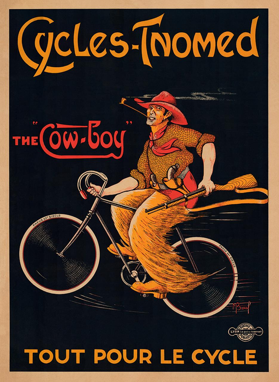 Cycles - Tnomed Vintage Bicycle Poster Print Circa 1920