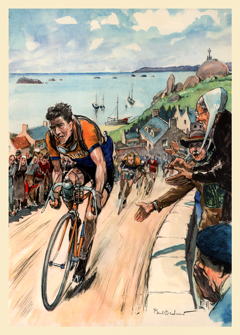 Louison Bobet on a Stella Bicycle Poster, winner of the 1953 Tour de France