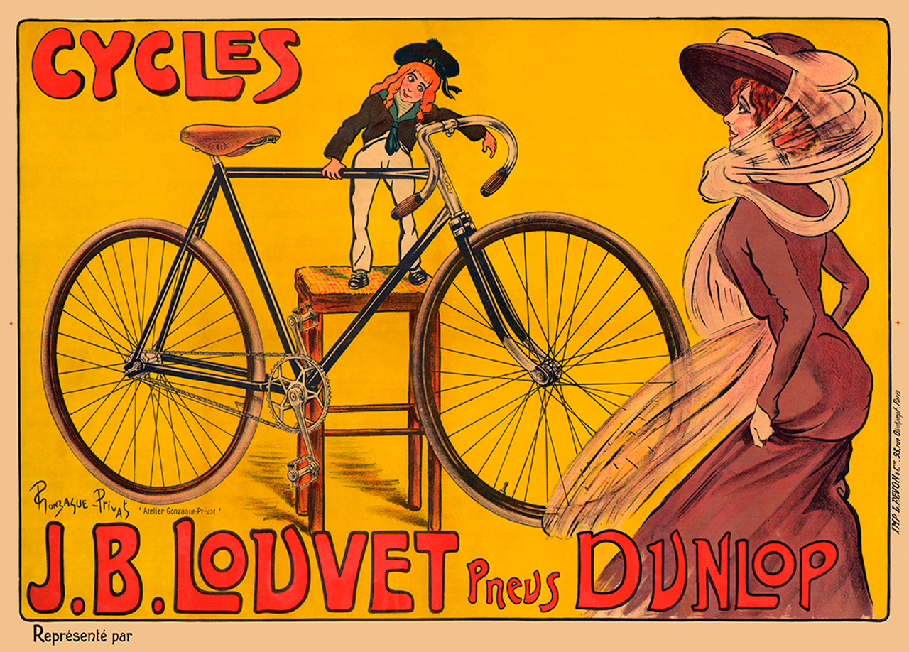Cycles J. B. Louvet Vintage Bicycle Poster by Privat