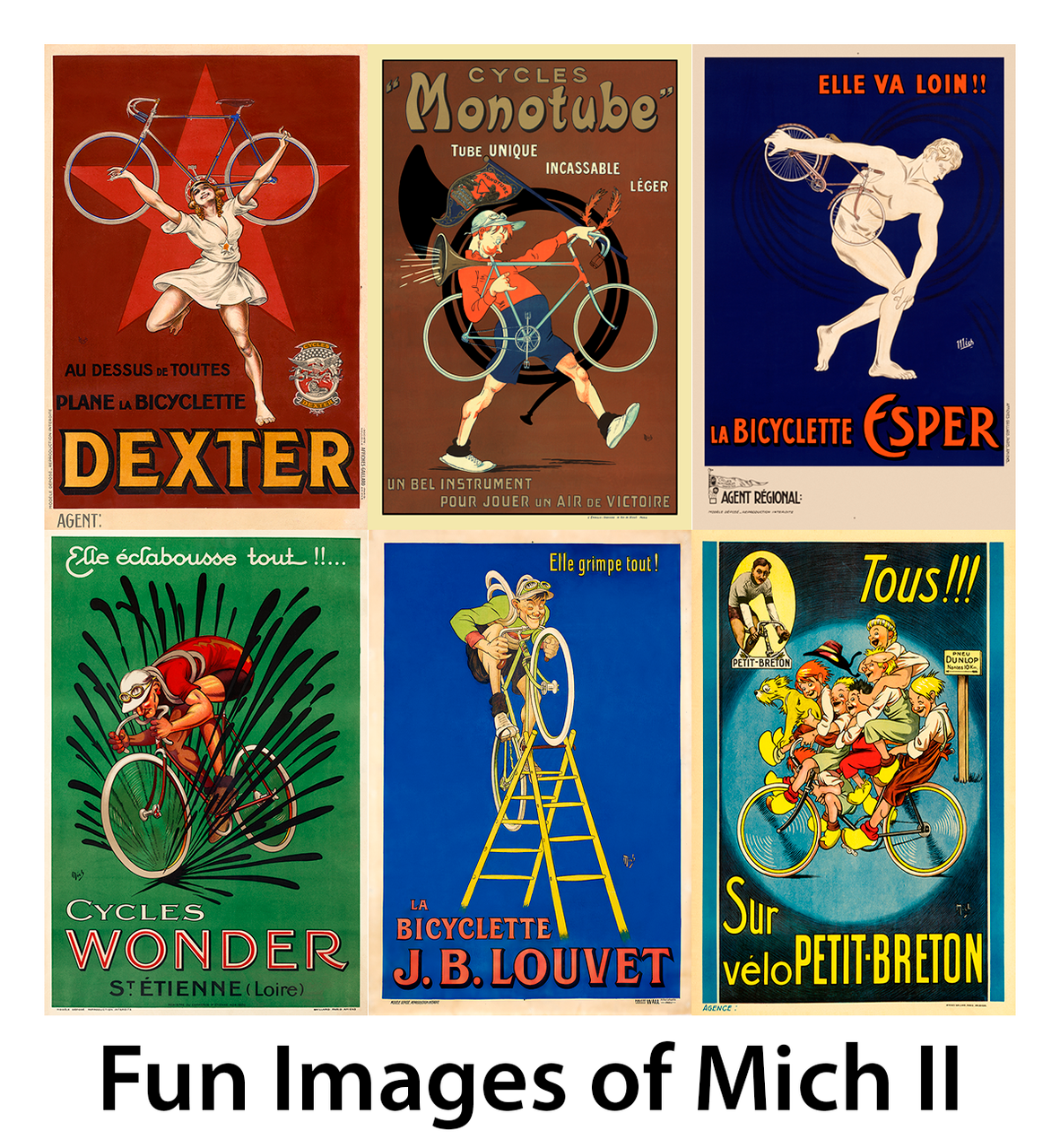 Fun Images of Mich Bicycle Posters II - Set of 6