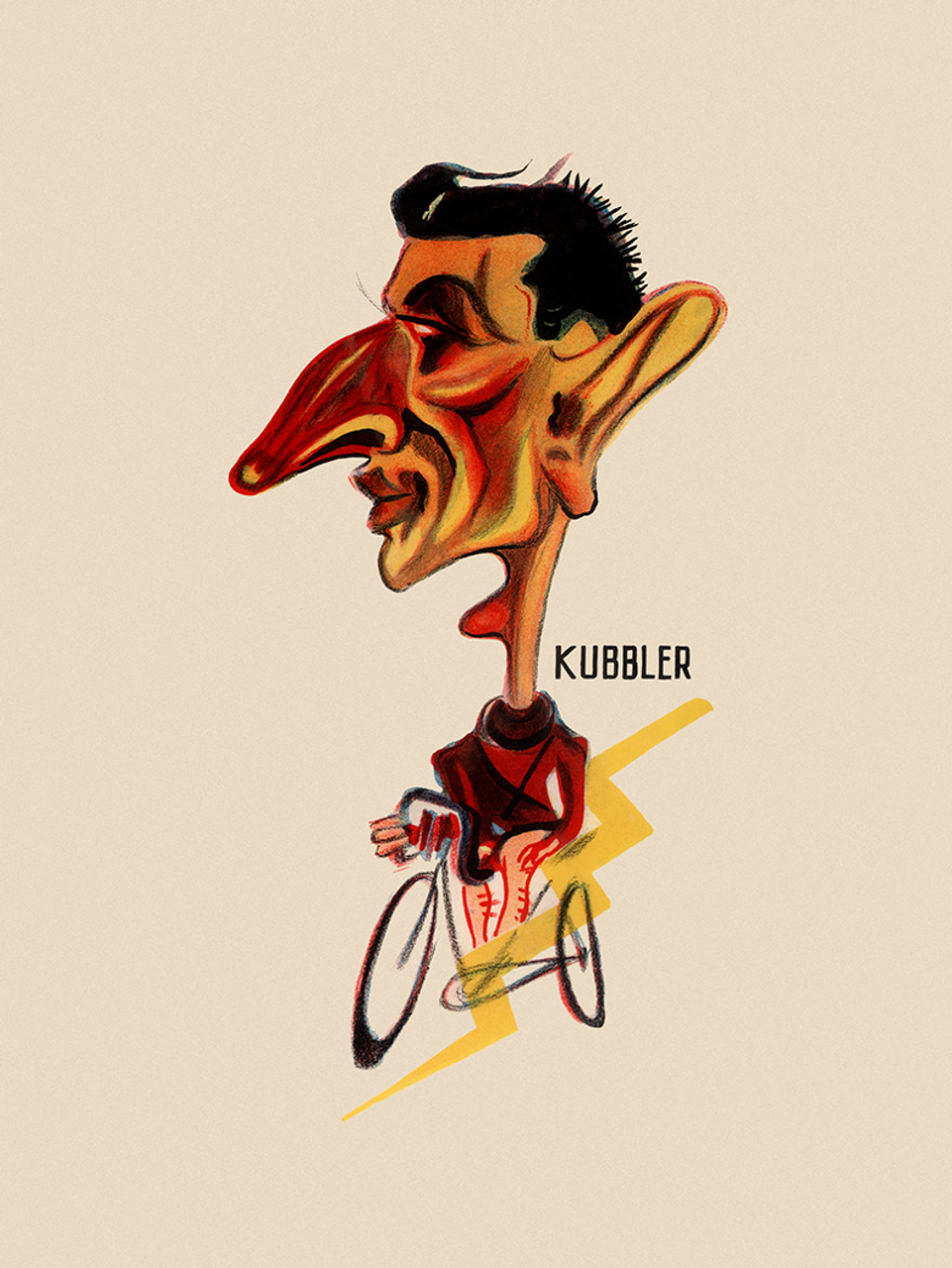 "Ferdinand ""Ferdi"" Kübler  first Swiss rider to win the Tour de France Bicycle Poster"