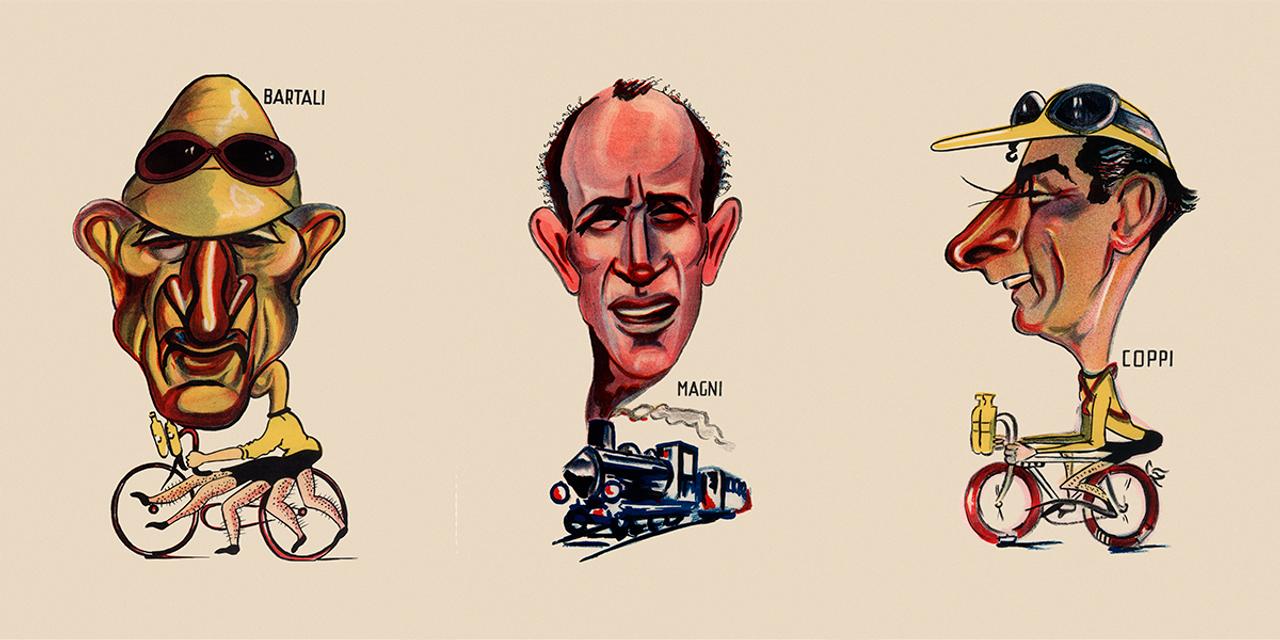 A Golden Trio Coppi, Bartali, Magni Bicycle Poster