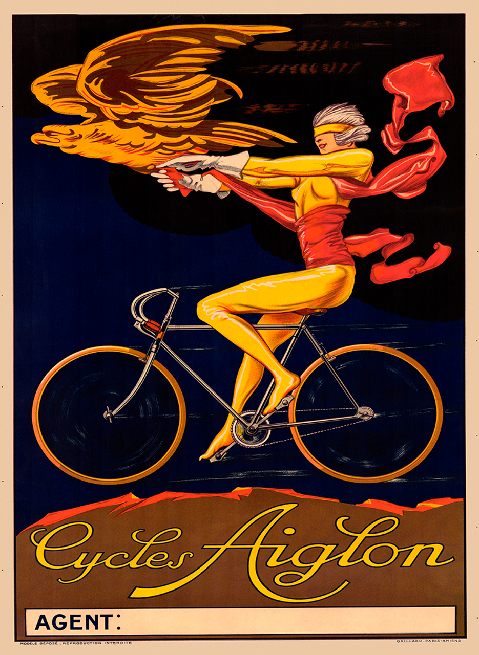 Cycles Aiglon Vintage Bicycle poster Print from 1910
