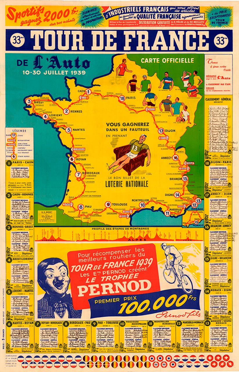 1939 Tour de France Map Poster