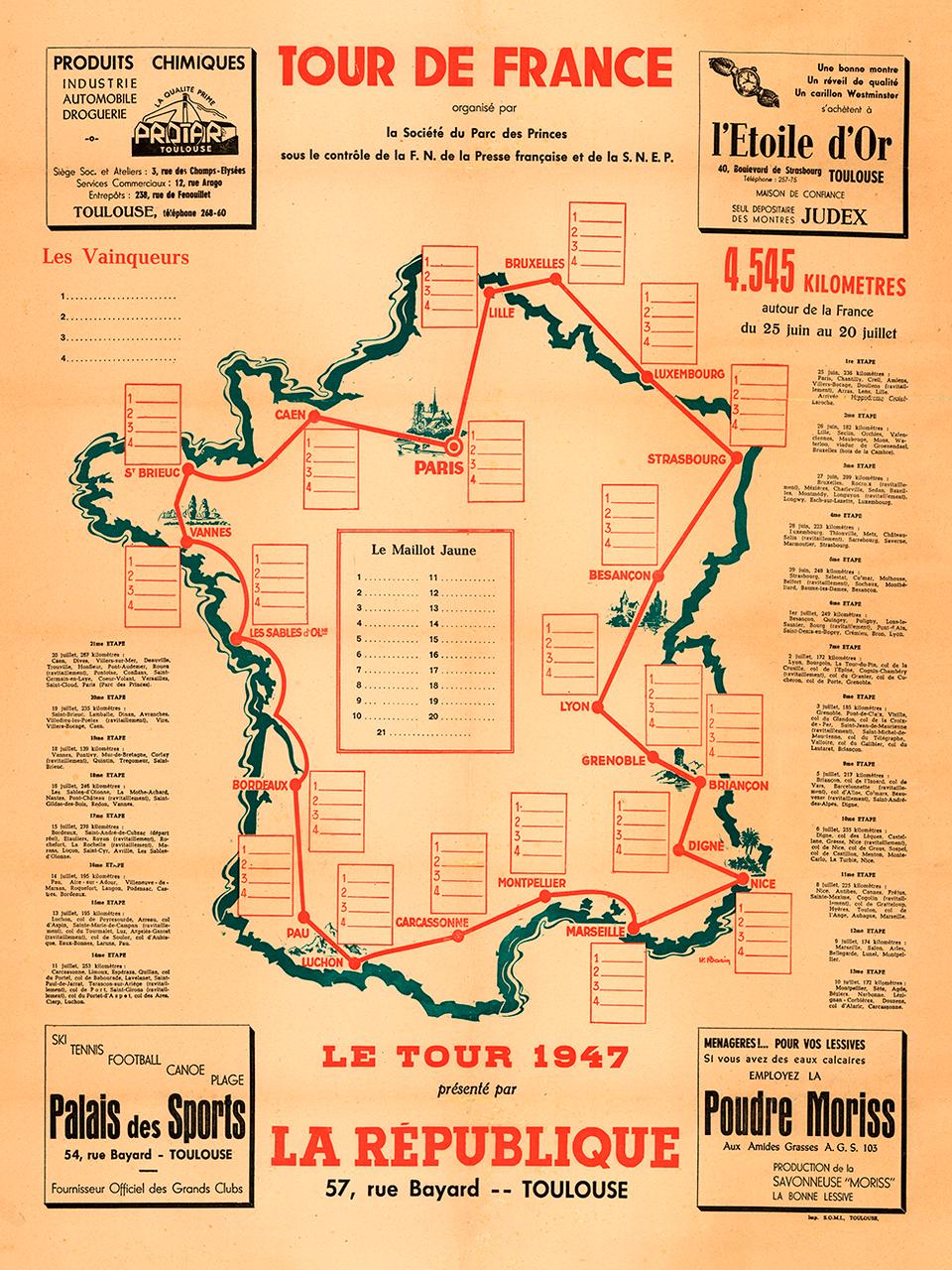 1947 Tour de France Map Poster