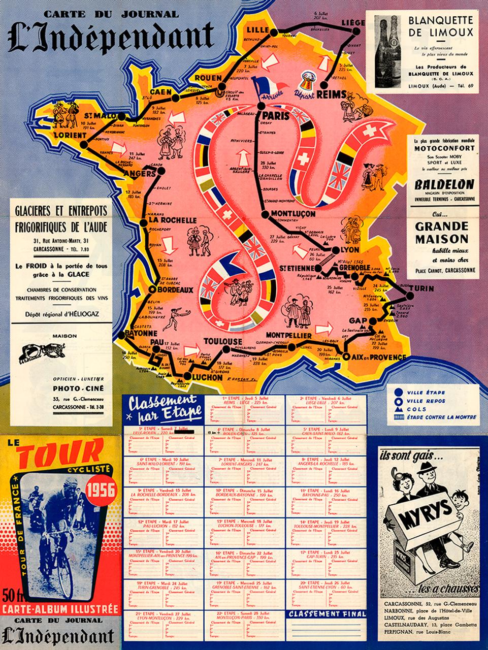 1956 Tour de France Map Poster