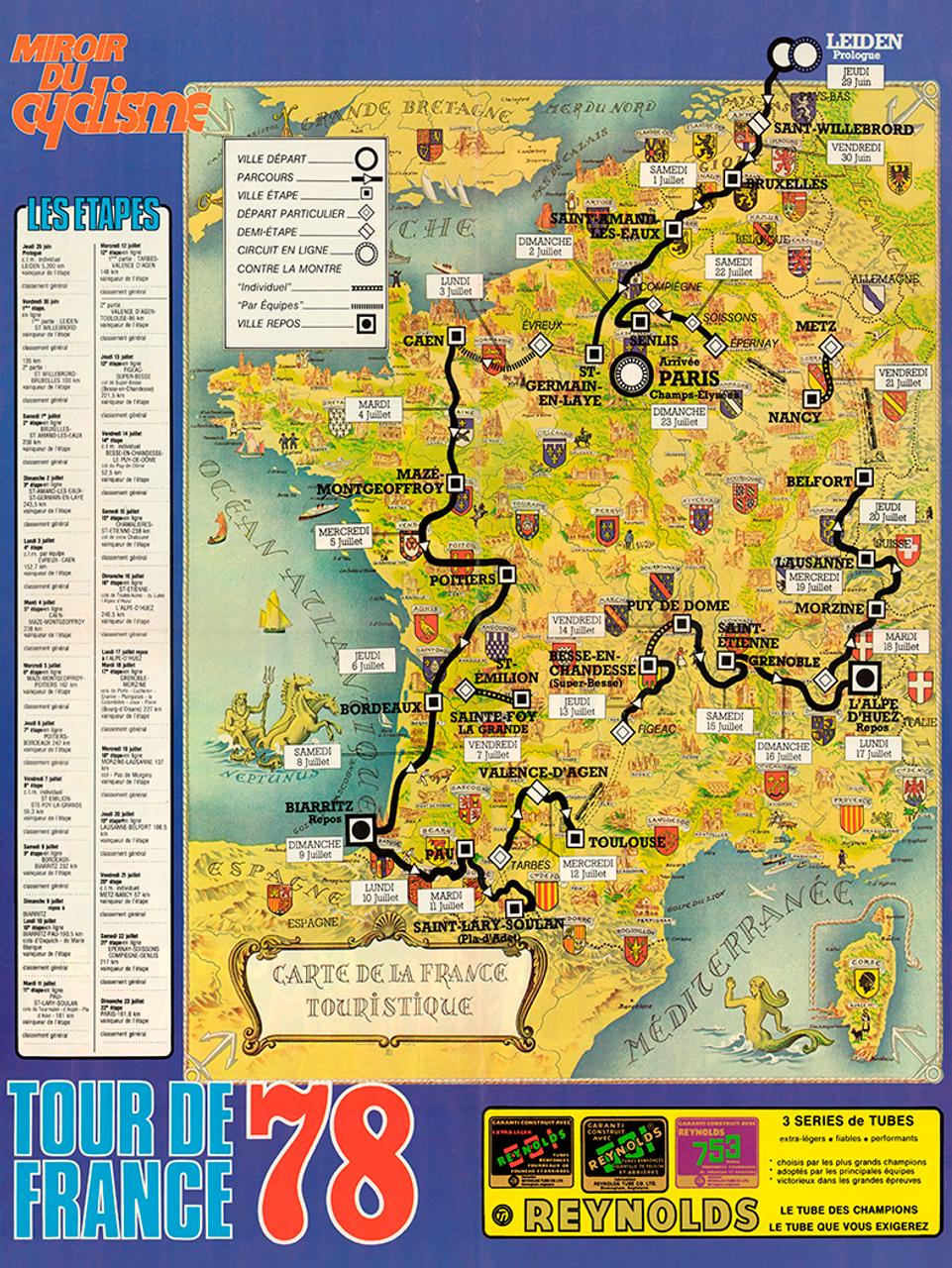 1978 Tour de France Map Poster
