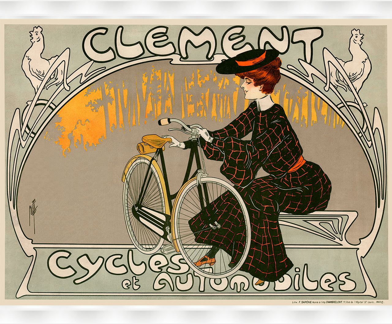 Clement Cycles Vintage Bicycle Poster Print by Misti