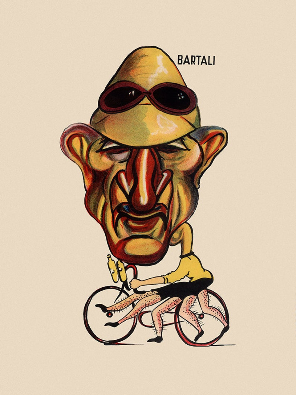 Gino Bartali Caricature Poster from the 1949 Giro d'italia