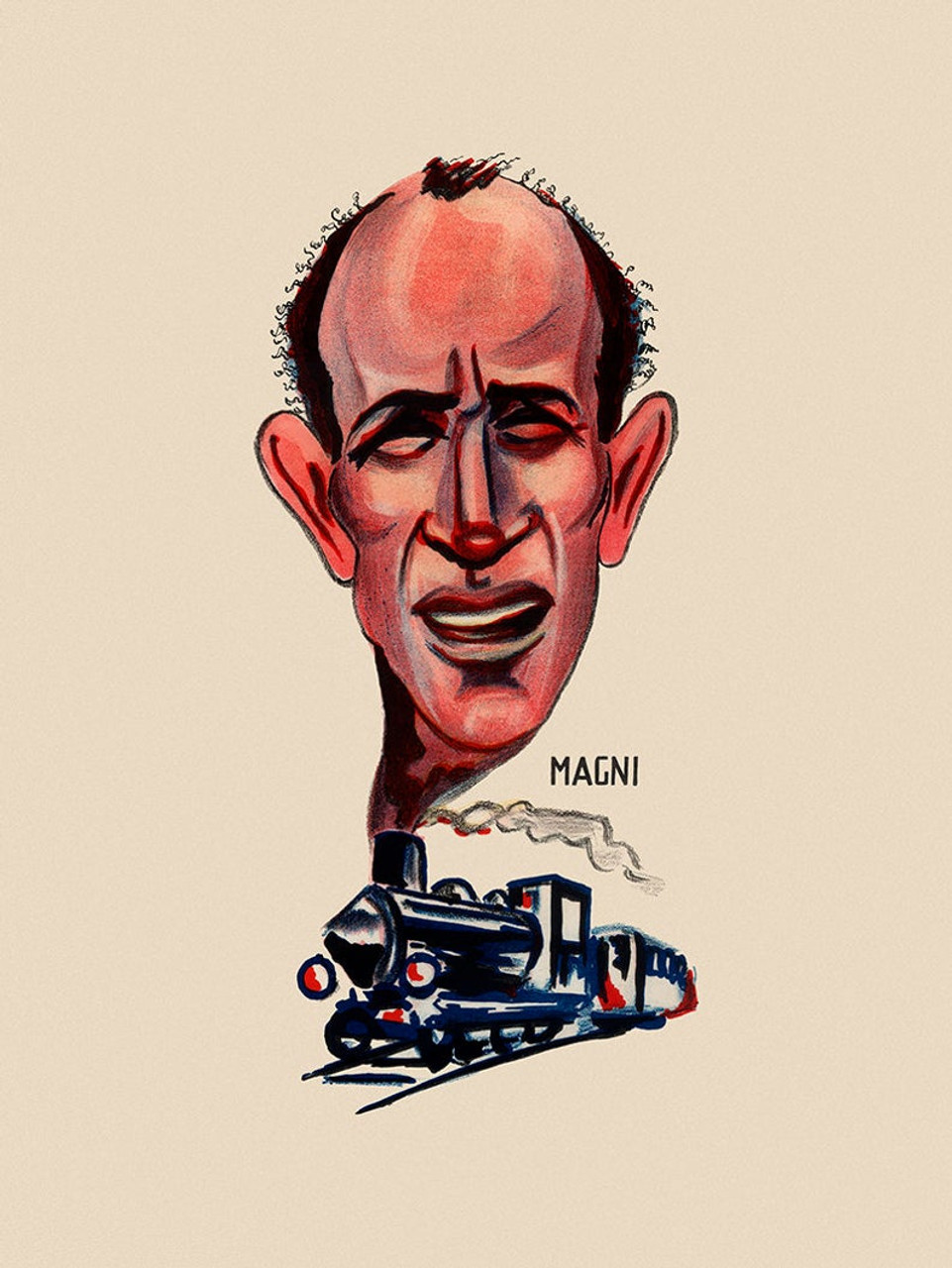 Firenzo Magni Caricature Poster from the 1949 Giro d'italia
