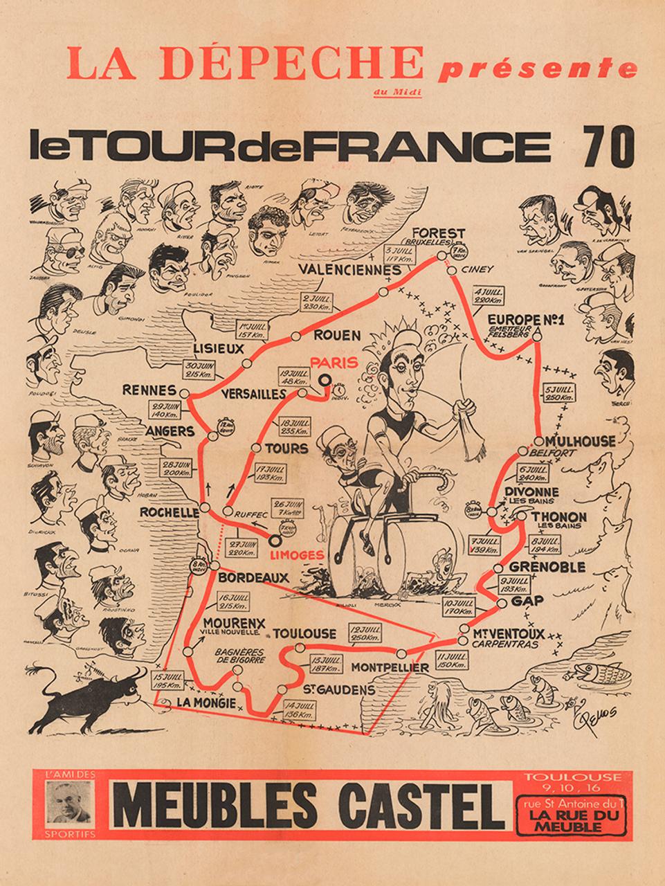 1970 Tour de France Map Poster Rene Pellos, Eddy Merckx