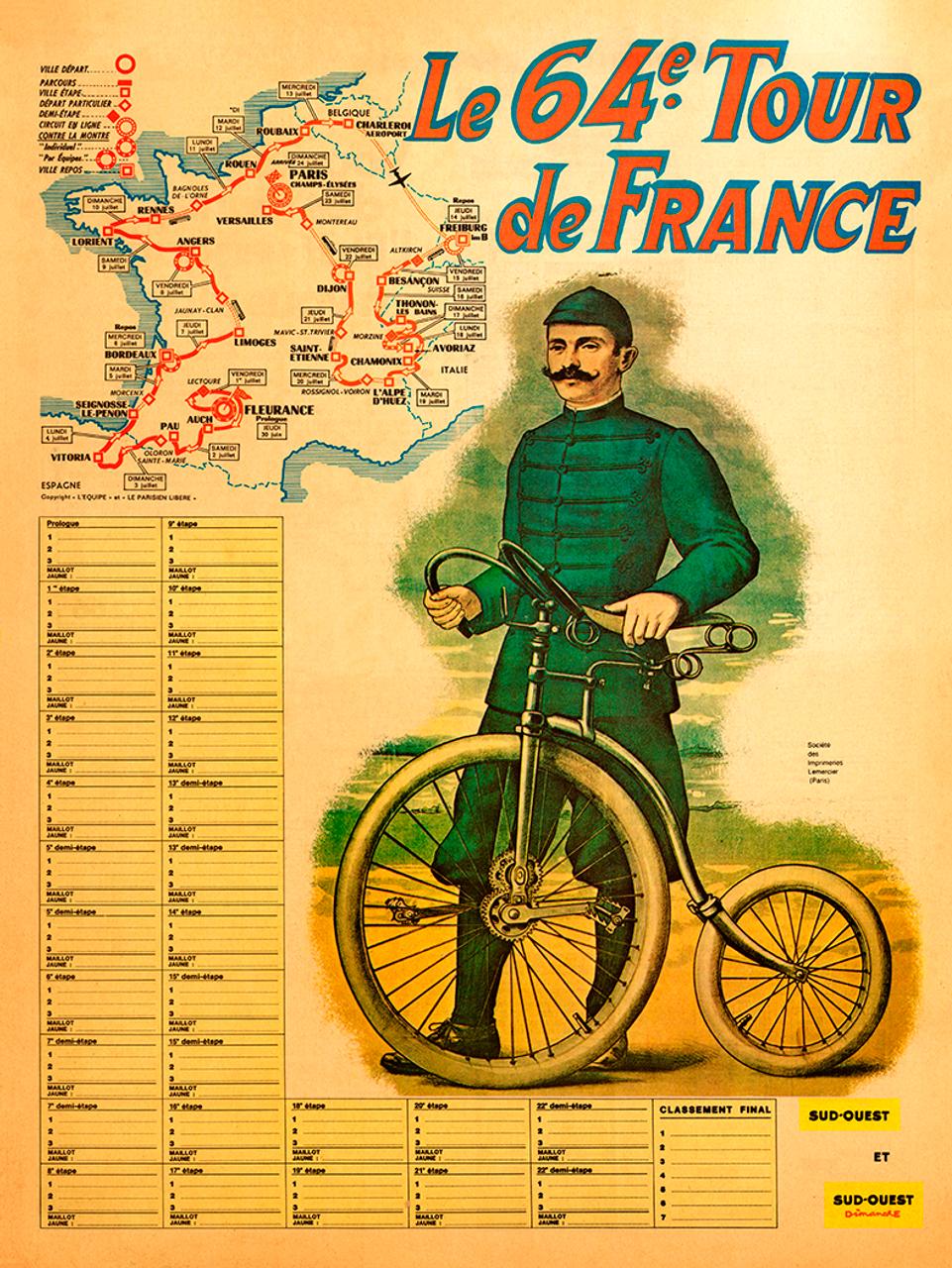 1964 Tour de France Map Poster