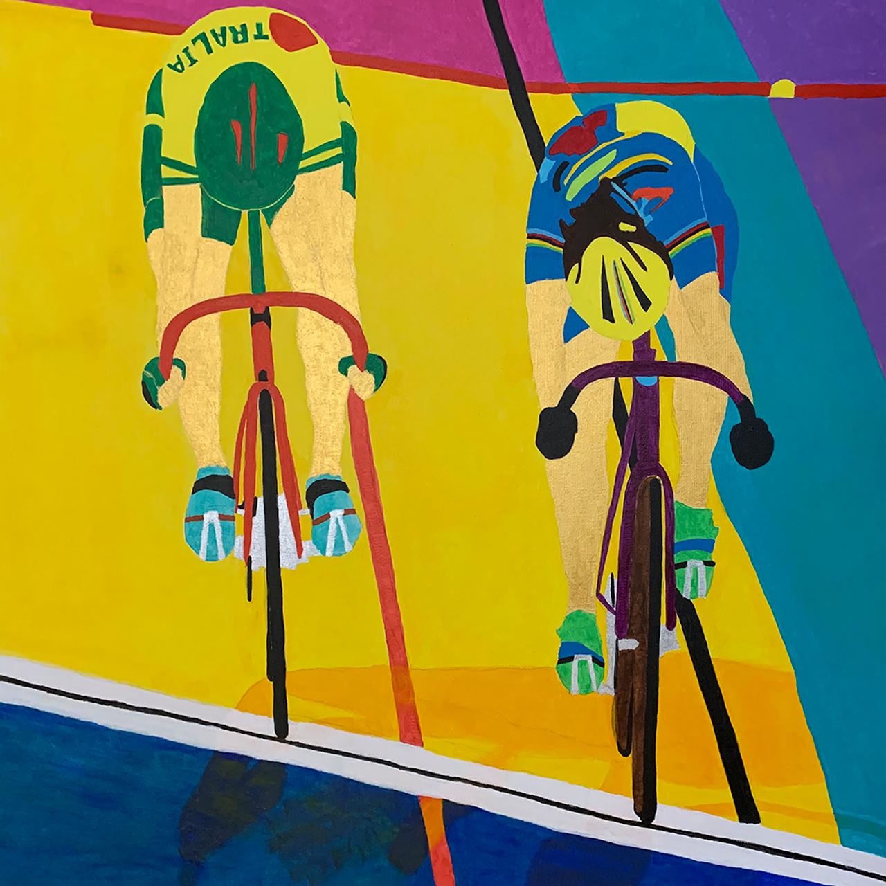 Ferris vs Dubnikoff in the velodrome - original art prints by Sandra Wright Sutherland