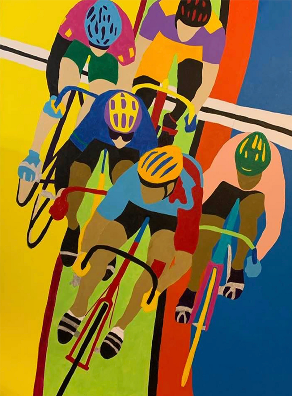 Keirin Check - racing in the velodrome  - Velodrome Art by Sandra Wright Sutherland
