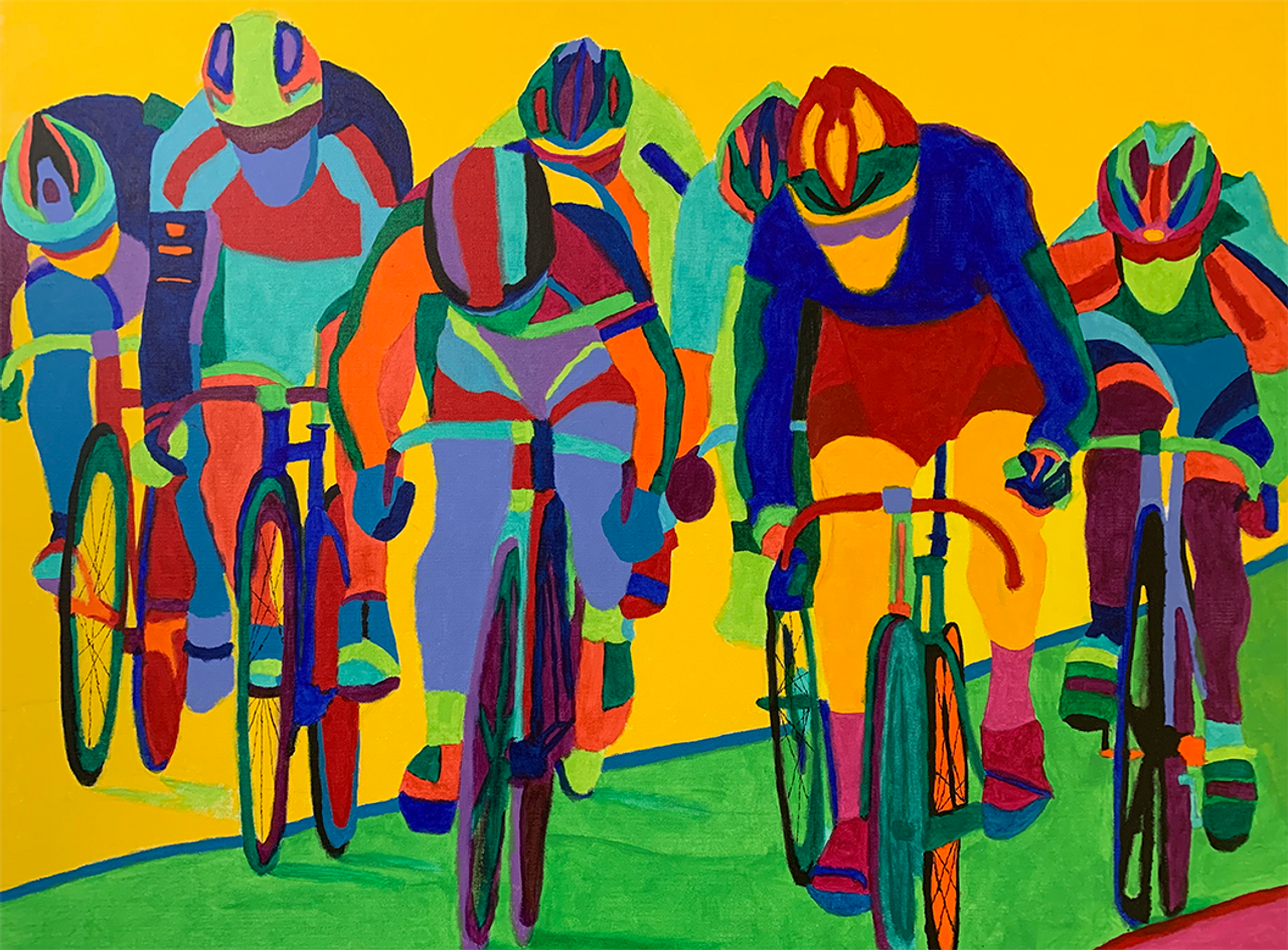 Out of Turn 4 - track racing in the velodrome - original art prints by Sandra Wright Sutherland