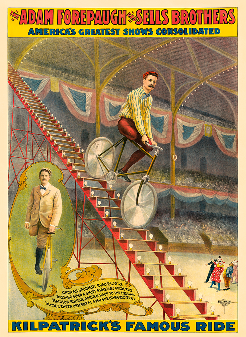 Kilpatrick's Ride Forepaugh Bicycle Circus Poster