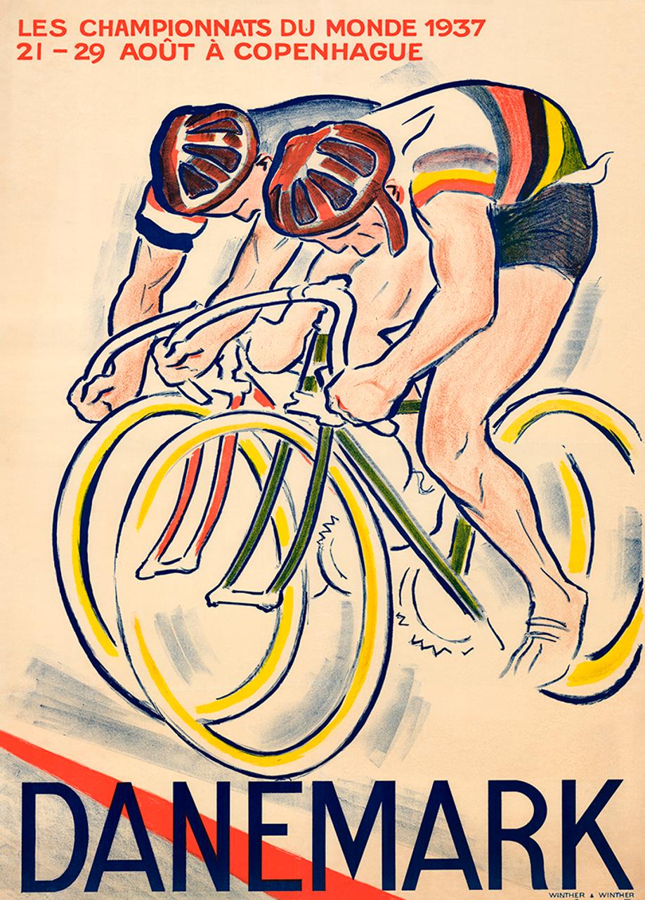 1937 World Cycling Championships Bicycle Poster Print