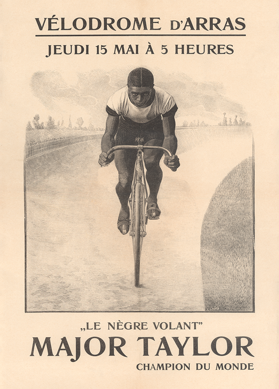 Major Taylor rare poster for an appearance at the Velodrome d'Arras in 1902
