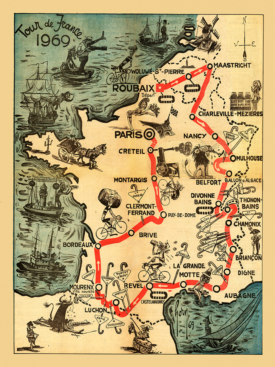1969 Tour de France Vintage Map Poster designed so fans could follow the race
