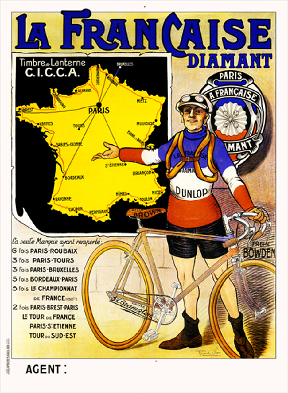 La Francaise Diamant TDF Bicycle Poster