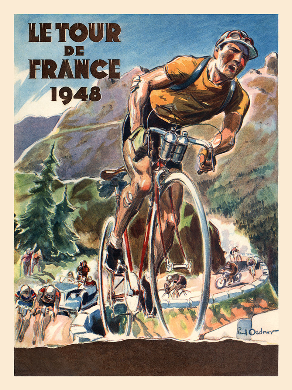 1948 Le Tour De France Bicycle Poster by Paul Ordner
