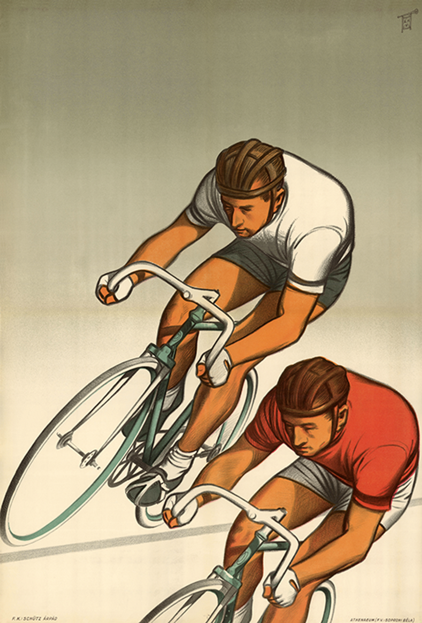 Two Racers Bicycle Poster