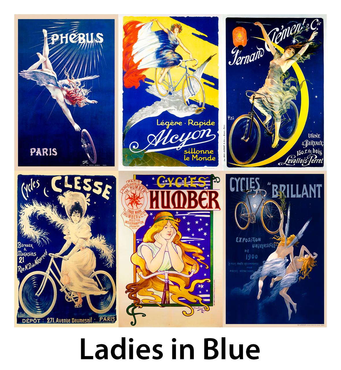 Ladies in Blue Bicycle Posters - Set of 6