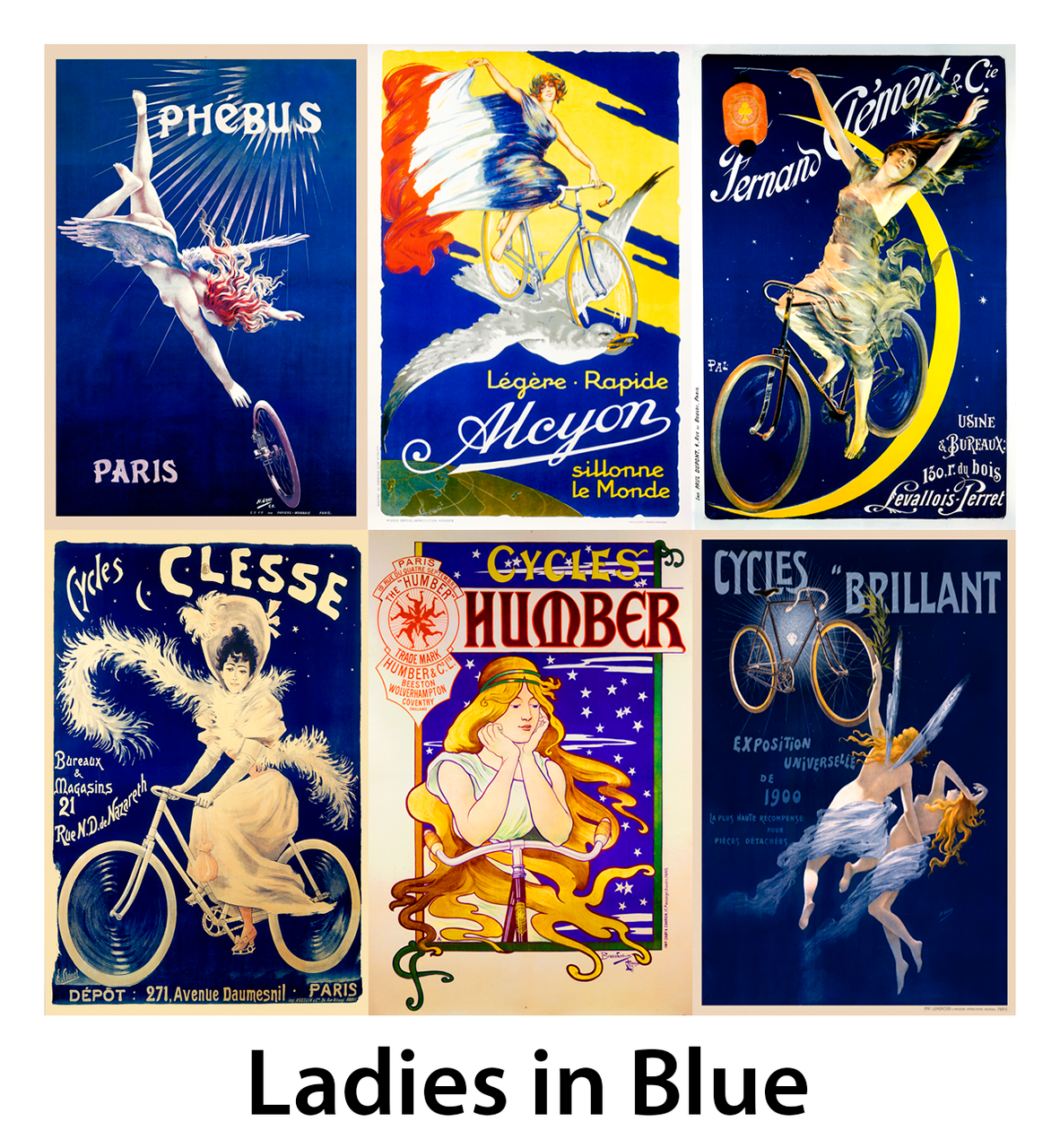 Ladies in Blue Bicycle Posters - Set of 6