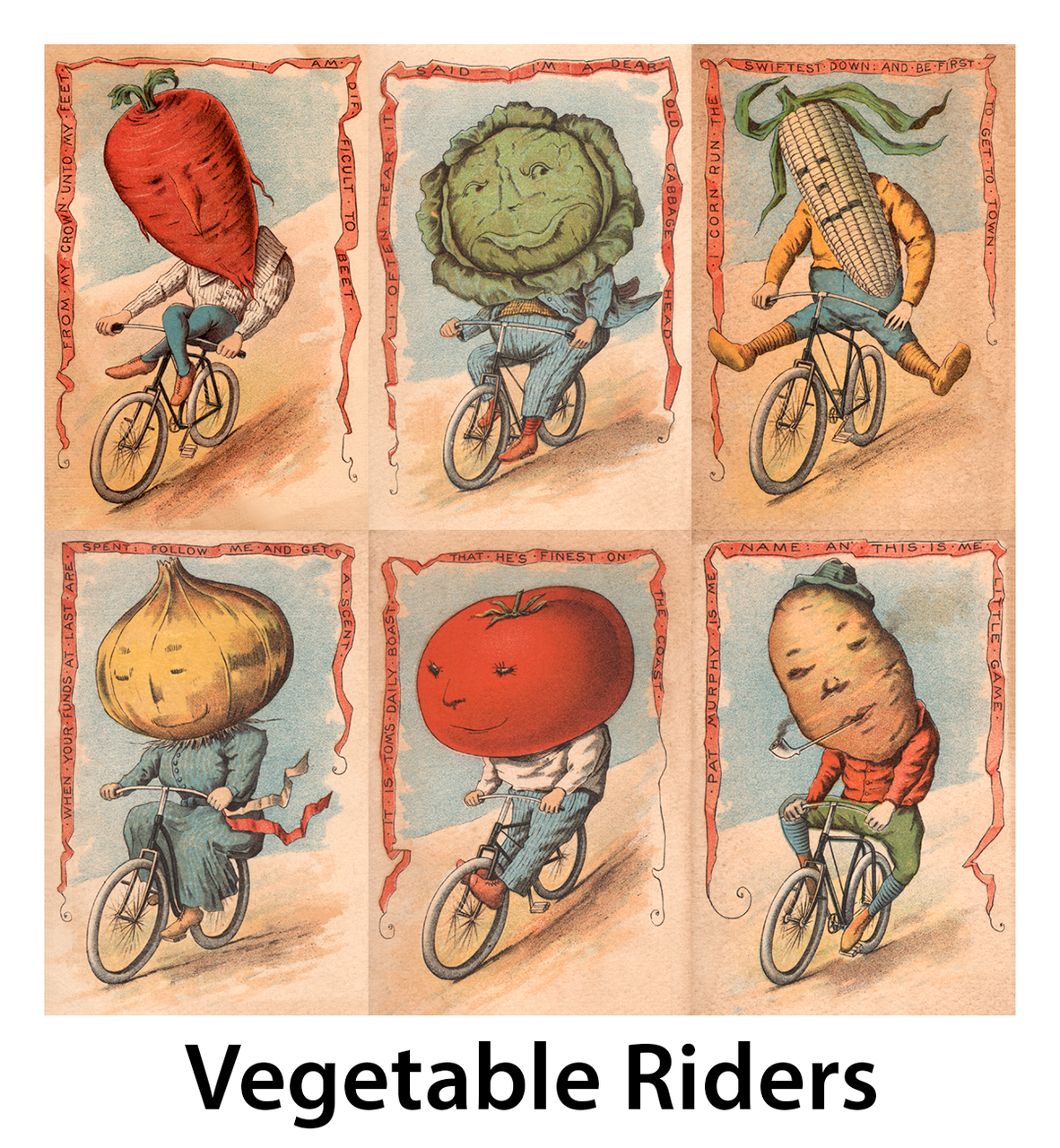 Vegetable Riders Vintage Bicycle Posters - Set of 6