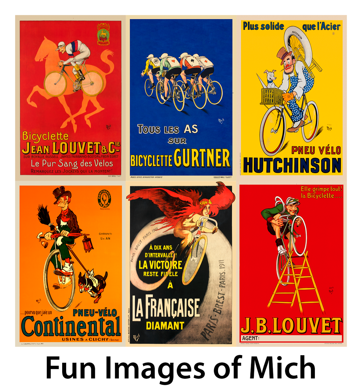 Fun Images of Mich Bicycle Posters - Set of 6