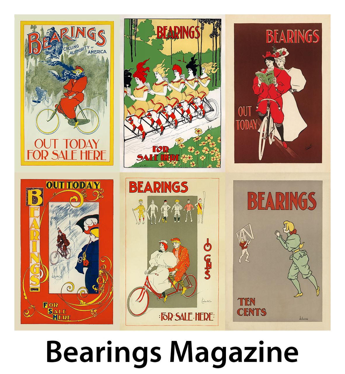Bearings: The Cycling Authority Bicycle Posters - Set of 6