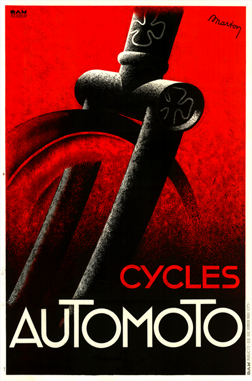 Cycles Automoto Art Deco Bicycle Poster