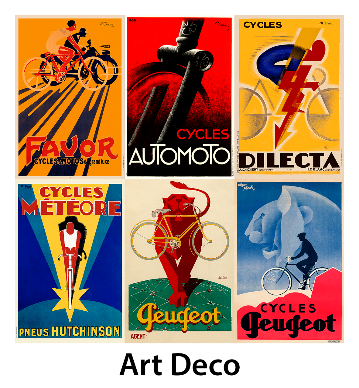 Art Deco Bicycle Posters - Set of 6