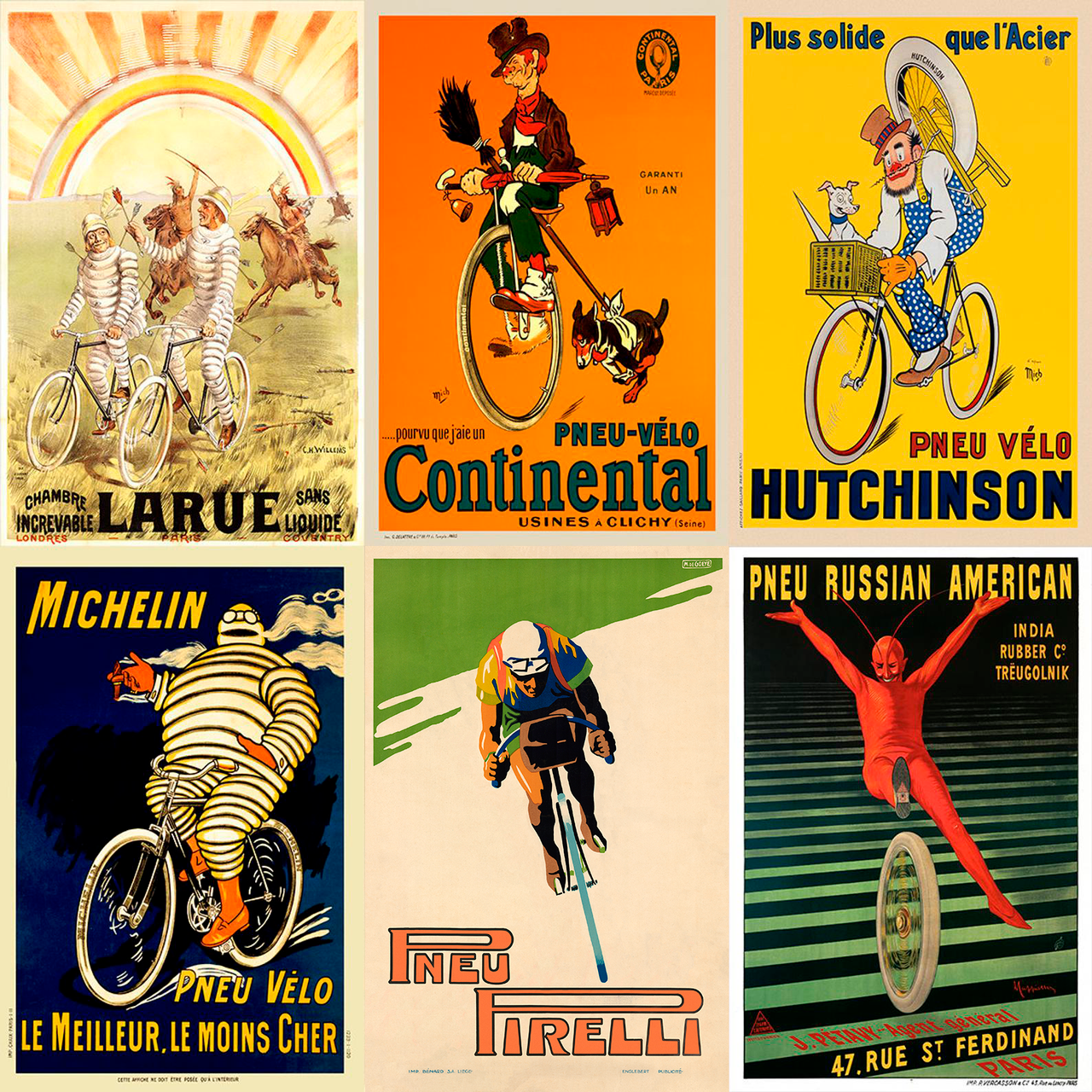 Vintage Tire Ad Bicycle Posters - Set of 6