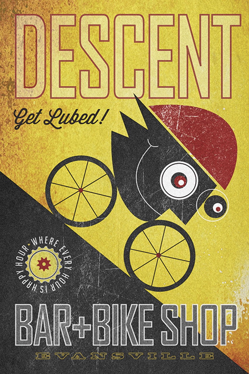 Descent Bar & Bike Shop Bicycle Poster by John Evans