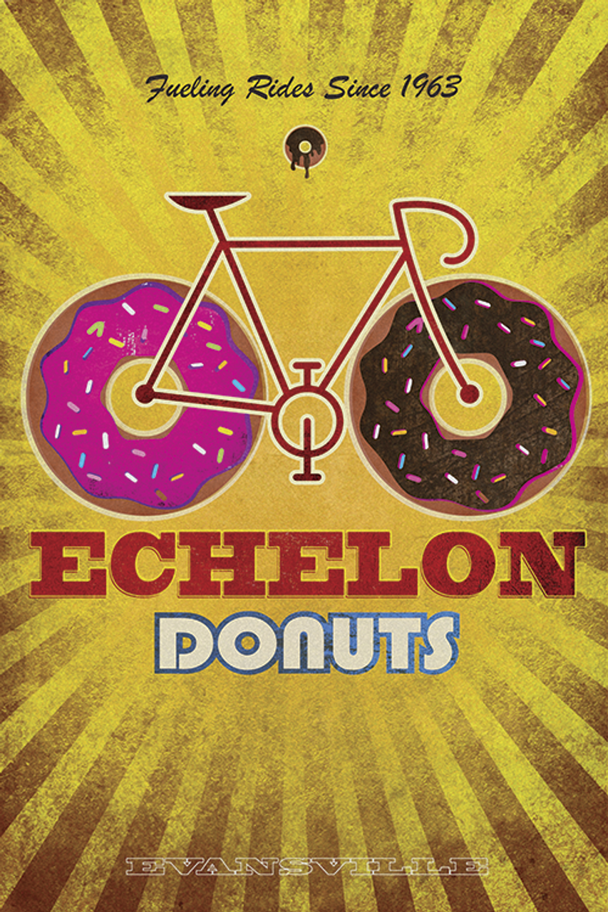 Echelon Donuts Bicycle Poster by John Evans