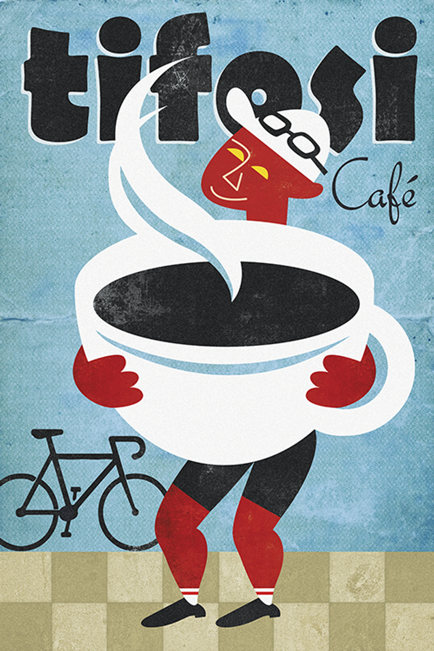 Tifosi Cafe Bicycle Poster by John Evans